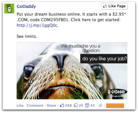 Godaddy Dark Post on Facebook