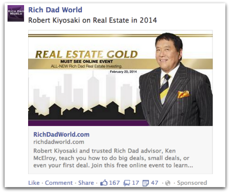 Robert Kiyosaki Dark Post on Facebook