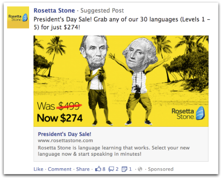 Rosetta Stone Dark Post on Facebook