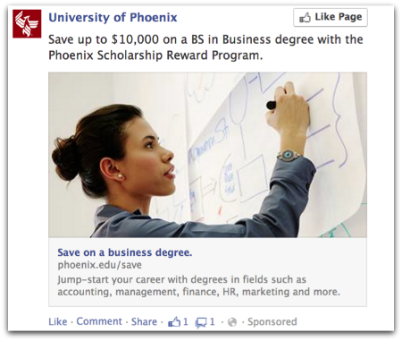 University of Phoenix Dark Post on Facebook